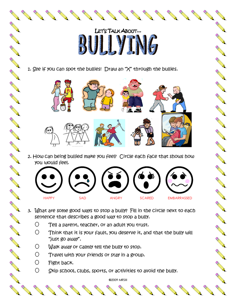 bullying worksheet | Plustheapp